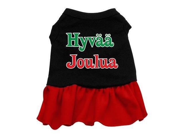 Hyvaa Joulua Dog Dress - Black with Red/XXX Large
