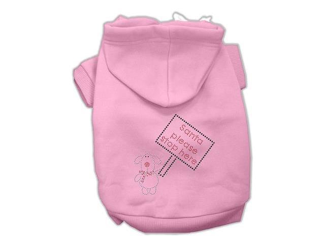Santa Stop Here Dog Hoodie Pink/Extra Small
