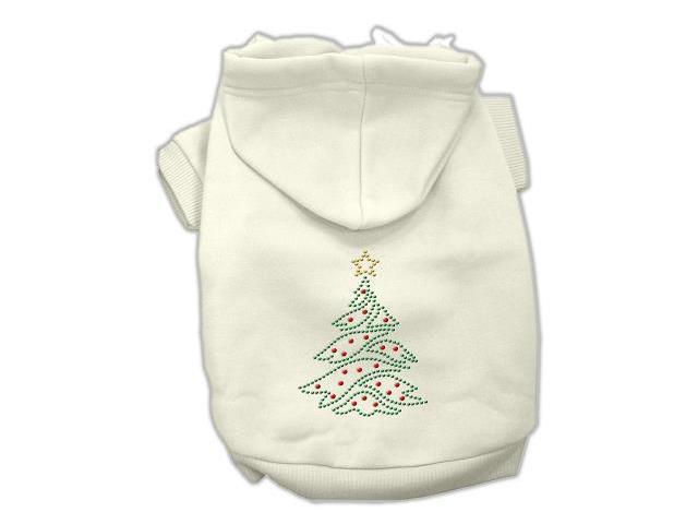 Christmas Tree Dog Hoodie Cream/Small