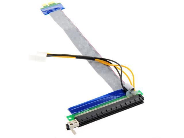 Tekit PCI-E PCI Express 1X to 16X Adapter Converter Riser Card Extender Flexible Extension Cable w/ Molex 4 Pin Power Connector (20cm)
