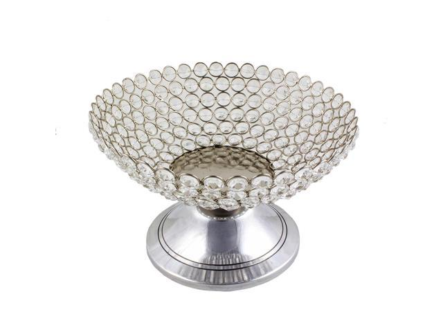 Beaded crystal accent bowl on stand