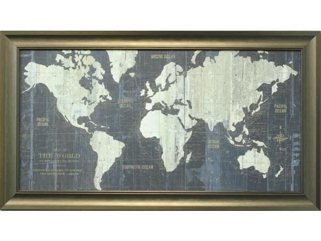 Old world map painting