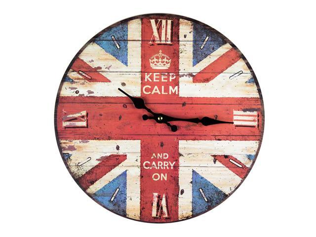 Keep calm  union jack flag clock