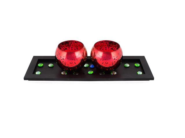 Large red pair of votives
