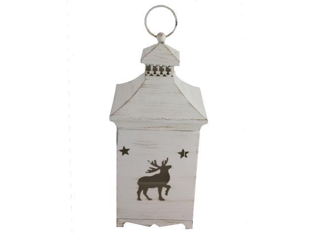 White wooden finish metal reindeer lantern