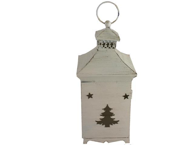 White wooden finish metal christmas tree lantern