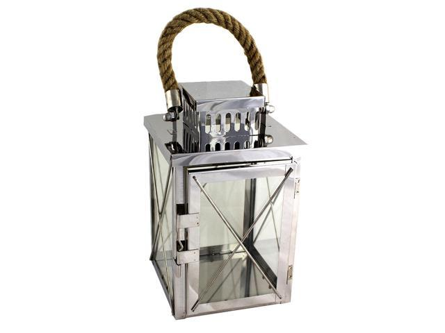 Modern metal lantern with rope hanger