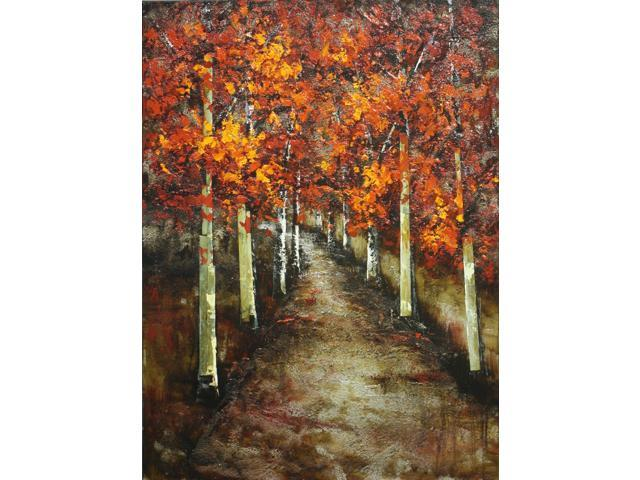 Fall birch road painting
