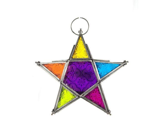 Hand made hanging multi-colour star moroccan style lantern - graphite finish