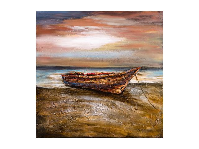 Boat at shore painting