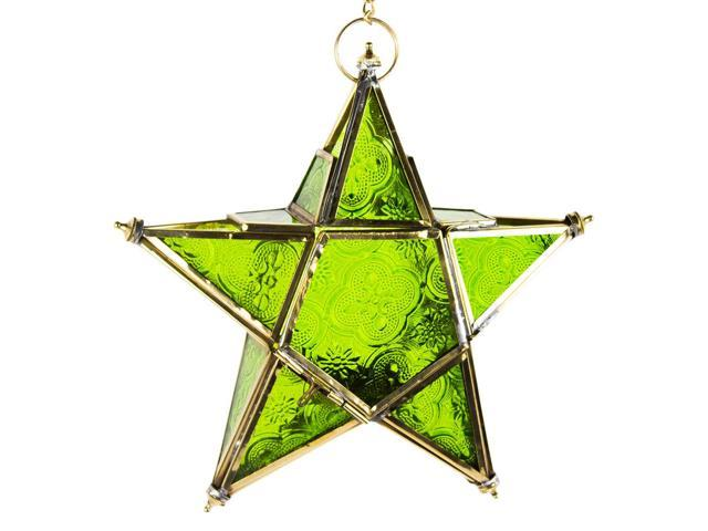 Hand made hanging star moroccan style lantern -green