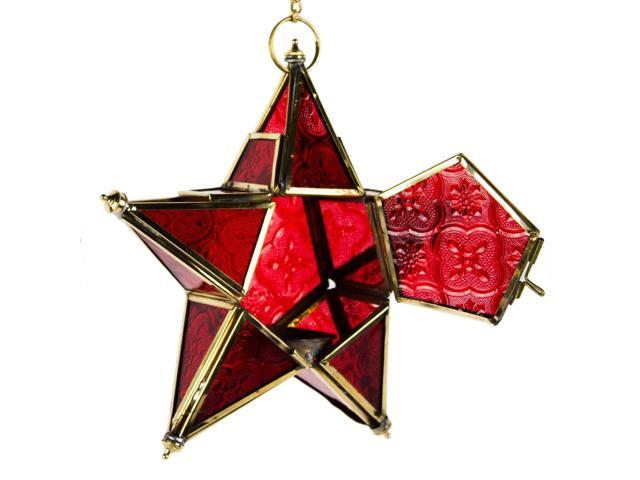 Hand made hanging star moroccan style lantern -red