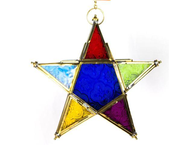 Hand made hanging multi-colour star moroccan style lantern