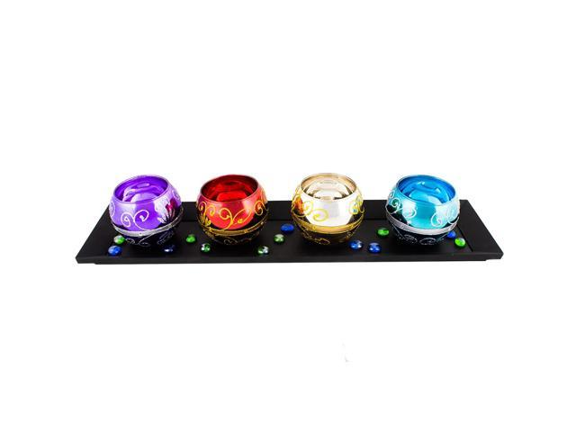 Multi-coloured votive and tray set