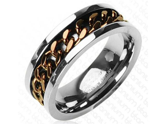 Mens Coffee Biker Chain on Titanium Ring 8MM - Size 10