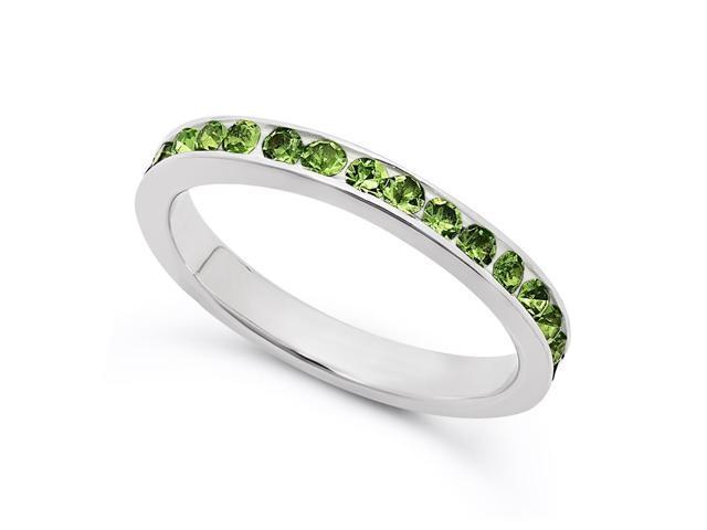 Silver peridot green cz august birthstone eternity band ring size 8