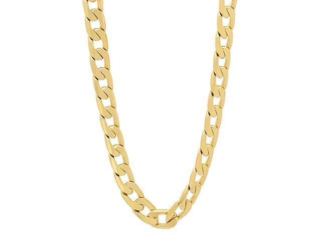 6mm 14k Gold Plated Beveled Cuban Link Curb Chain Necklace, 24