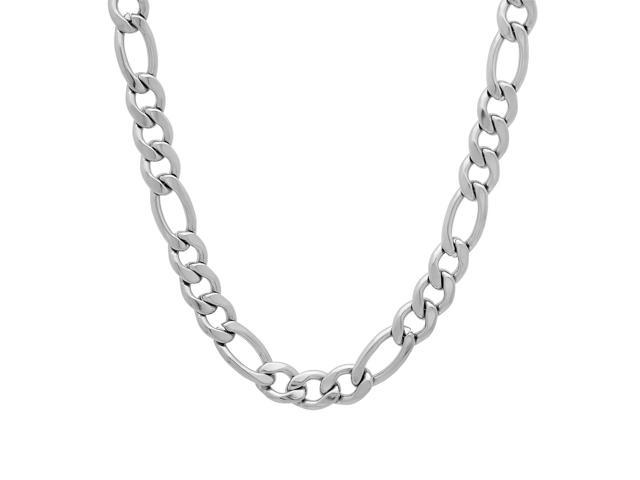 Durable Solid Stainless Steel 6mm Smooth Figaro Link Chain Necklace, 24