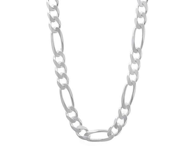 5.5mm Solid 925 Sterling Silver Figaro Link Italian Crafted Chain, 26