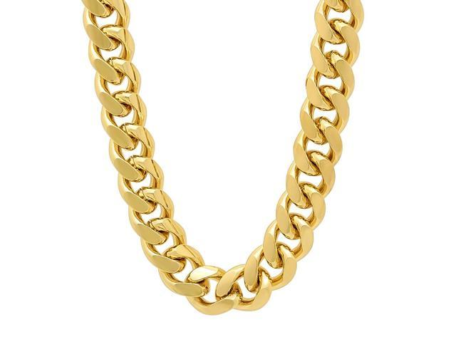 11mm 14k Gold Plated Miami Cuban Link Curb Chain Necklace, 36