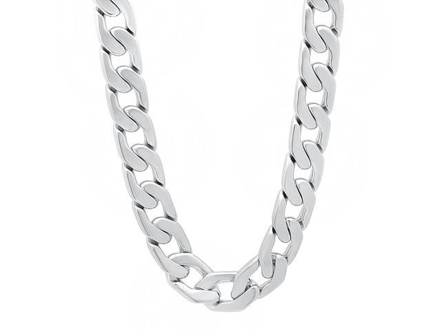 11.5mm Rhodium Plated Beveled Cuban Link Curb Chain Necklace, 22