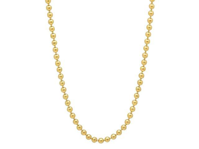2mm 14k Gold Plated Ball Chain Necklace, 16