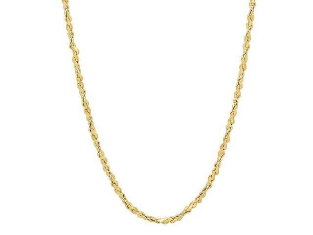 2mm 14k Gold Plated Twist Nugget Chain Necklace, 22