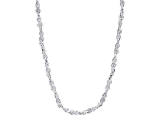2mm Rhodium Plated Twist Nugget Chain Necklace, 16