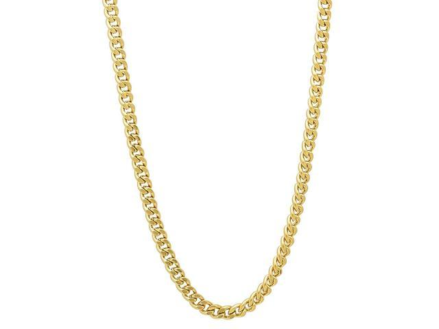 3mm 14k Gold Plated Flat Cuban Link Curb Chain Necklace, 20