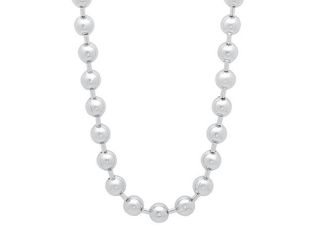 6.5mm Rhodium Plated Ball Chain Necklace, 24
