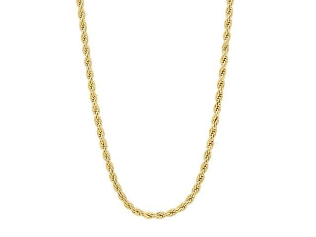 2.4mm 14k Gold Plated French Rope Chain Necklace, 18