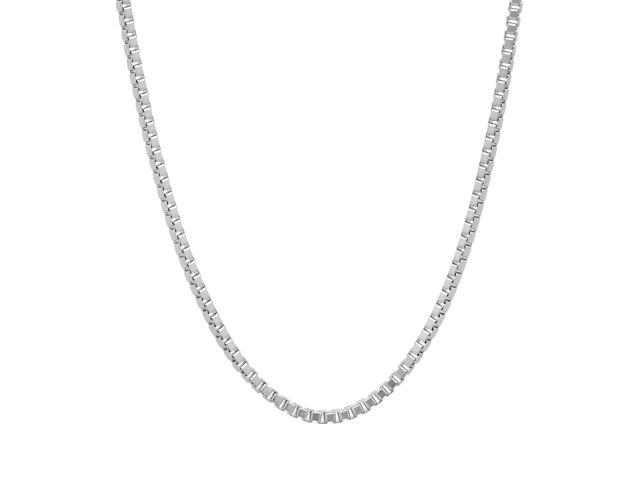 2mm Rhodium Plated Box Chain Necklace, 20
