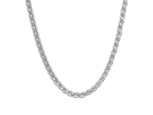 5mm Rhodium Plated Wheat Chain Necklace, 24