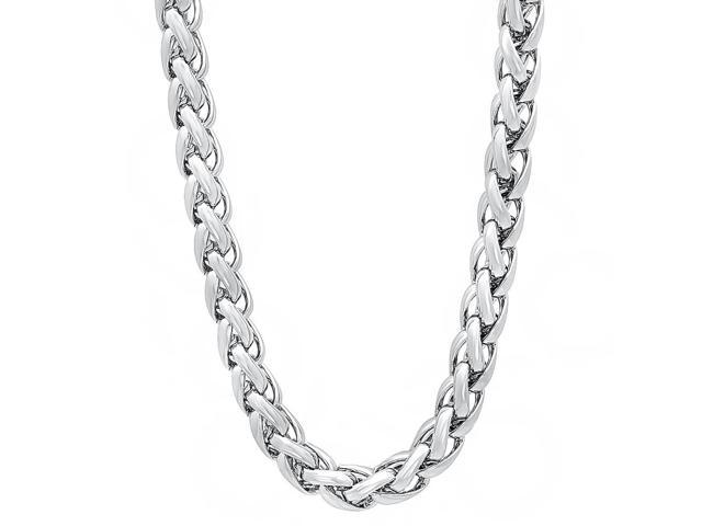6mm Rhodium Plated Wheat Chain Necklace, 24