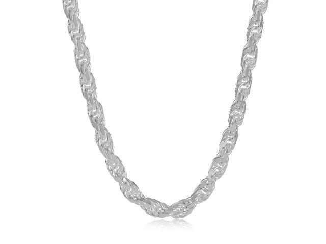 3.5mm Solid 925 Sterling Silver Diamond-Cut Rope Link Italian Chain, 18