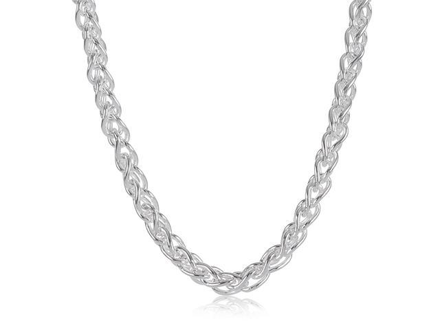 3mm Solid 925 Sterling Silver Italian Crafted Wheat Spiga Chain, 24