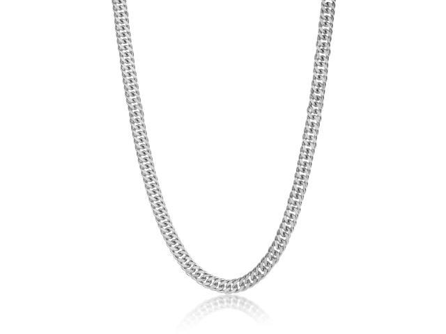 9mm Rhodium Plated Double Cuban Link Curb Chain Necklace, 24
