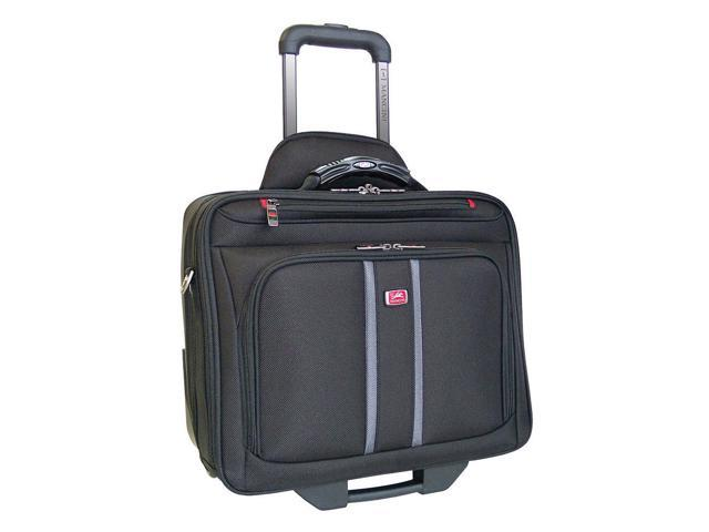 Mancini Compuroller Double Compartment Wheeled Laptop Briefcase - Black