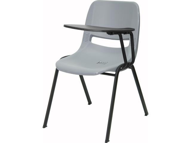 Gray Ergonomic Shell Chair With Left Handed Flip Up Tablet Arm