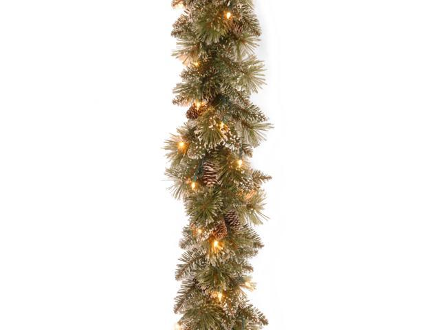 9 ft. Glittery Bristle Pine Garland with Clear Lights