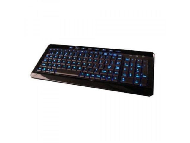 Azend Group USB Backlit Blue LED Multimedia Keyboard, Piano Black, W-9868BL