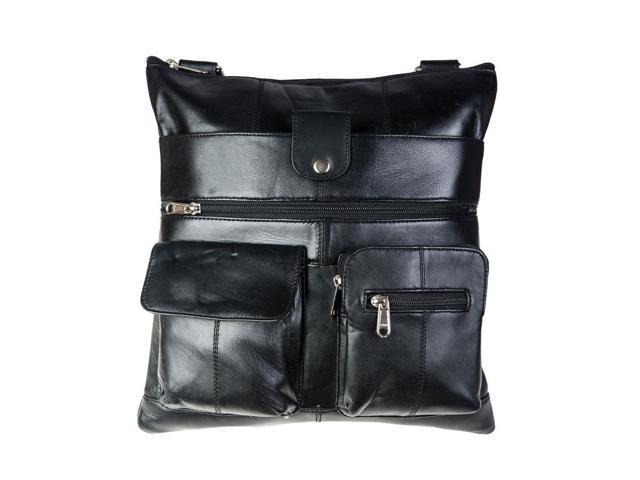CHAMPS Genuine Leather Unisex Bag - Black
