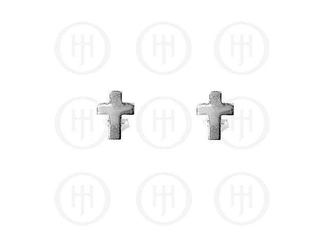 Sterling Silver Stud Cross Earrings