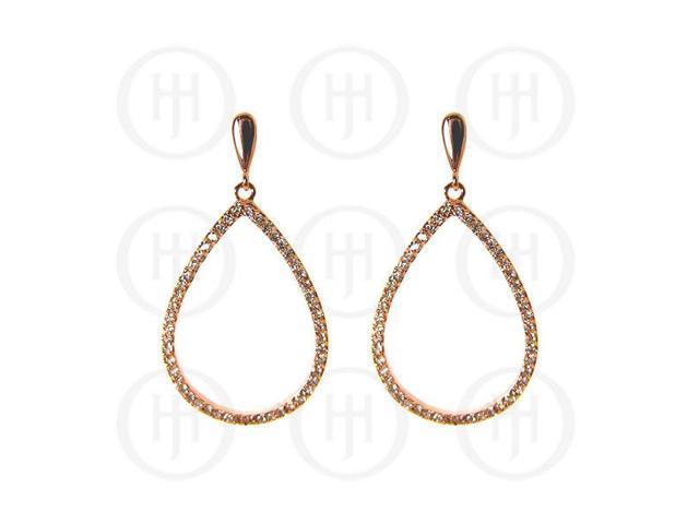 Sterling Silver Fancy Italian Rhodium Plated Rose Colour Cubic Zirconia Earrings