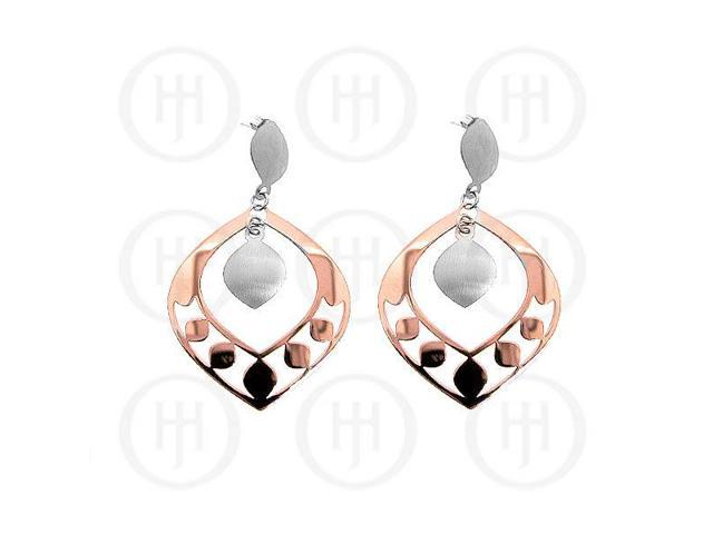 Sterling Silver Fancy Italian Rhodium Plated Rose Colour Earrings