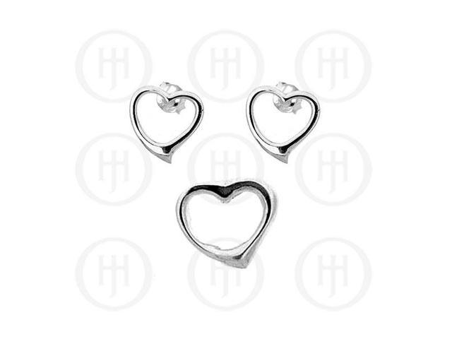 Sterling Silver Dangle Earrings Heart Pendant Set