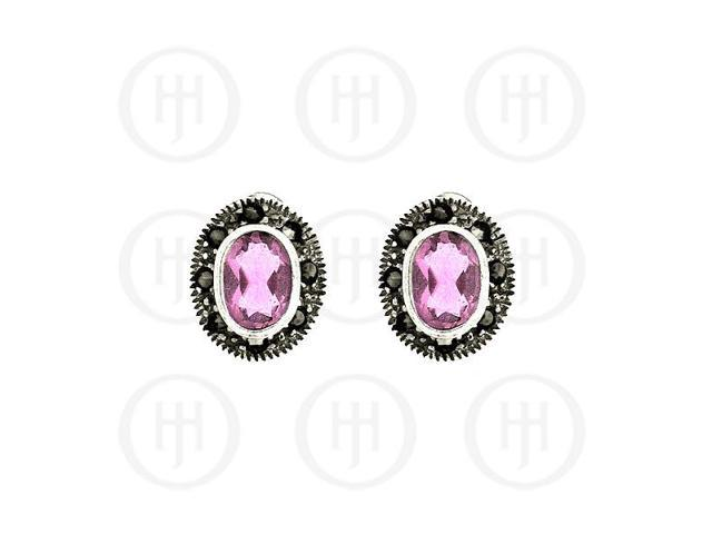 Sterling Silver Marcasite Earrings Pink Cubic Zirconia