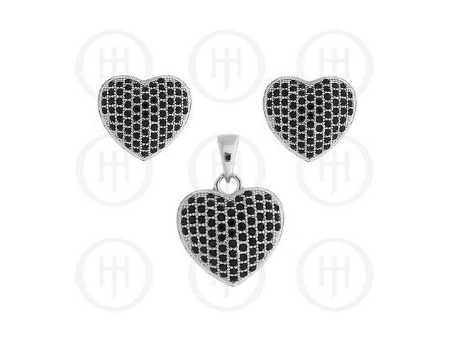 Sterling Silver Micro Pave Earrings Black CZ Pendant Set