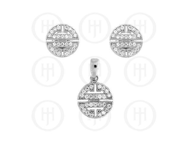Sterling Silver Micro Pave Earrings Pendant Set