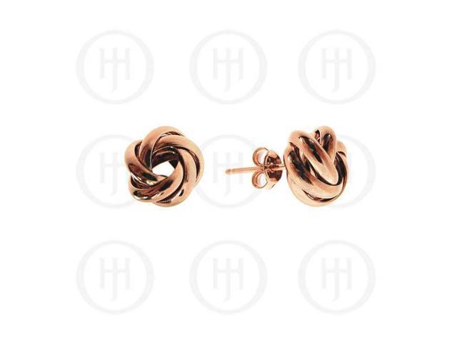 Sterling Silver Fancy Italian Rhodium Plated Rose Colour Loveknot Earrings